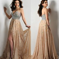 Wholesale 2015 new deep champagne crystal beaded chiffon mermaid prom dresses sexy party dress