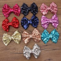 hair bows - Fashion new christmas gift sequin big bows hair clips accessories beautiful shiny bowknot Barrettes headdress for baby girls