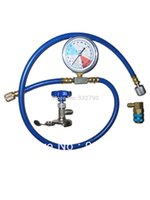 Wholesale Auto A C R134a R12 R22 Recharge Measuring Hose With Gauge Refrigerant Pipe R a psi Valve Can Tap order lt no track