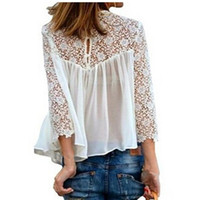 Wholesale Fancy Design Sexy Ladies Shirts Spring Ladies Hollow Out Full Sleeve Blouse Brand Quality Fashion Blouse G2