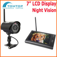 Wholesale 7 quot LCD Monitor Digital Wireless DVR with SD Card Recording and Long Range Night Vision CCTV Cameras Camera Security System