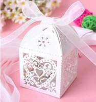 Wholesale New Cut Love Heart Laser Gift Candy Boxes Wedding Party Favor With RibbonC32