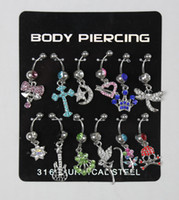 Navel & Bell Button Rings wholesale belly rings - NEW STYLE Body Piercing JewelrySteel Belly Bar Navel Ring Body jewelry FreeShipping
