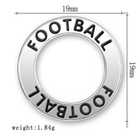 antique locket rings - new arrival a antique silver plated round sport hollow pendant text double FOOTBALL ring charms for jewelry locket making