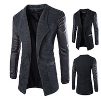 Wholesale Fall winter new arrival long black trench coat men fashion personality leather sleeve pathwork mens trench coat