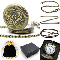 Wholesale Conbays Freemasonry Masonic Vine Antique Brass Plated Quartz Pocket Watch with Chain Gift Box Bag Chain Pendant Women Men