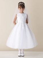 Wholesale 2015 Vintage White Communion Dress for Girl Sleeveless Jewel Appliques Organza Tea Length Special Occasions Flower Girls party Gown