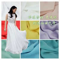 Wholesale Pearl Chiffon Fabric Thick Elastic Opaque d Shirt Dresses Materials Pure Color Width cm Cheap