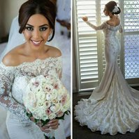 affordable pearls - 2015 Affordable Wedding Dresses Pearls Beaded Off the Shoulder Lace Appliques Long Sleeves Chapel Train Berta Bridal Gowns Custom Made