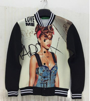 best poster printing - best selling new Men s jacket Coats D stereoscopic posters Rihanna printing Space cotton jacket Baseball uniform