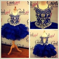 Wholesale Lovely Royal Blue Crystals Girls Pageant Dresses Little Girls Ball Gowns Mini Ruffles Organza Cheap Princess Cupcake Ritzee Girl Dress