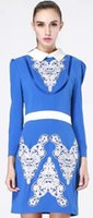 Wholesale Luxury Women Embroidery Slim Dress Fashion Patchwork Long Sleeve Work Dresses KC859