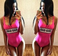 bad pink girl - European fashion hot new women s sexy barbie pink BAD GIRL letter print tunic one piece swimwear jumpsuit swimsuit rompers