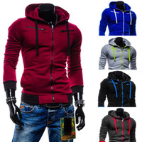 Wholesale Stylish Men Slim Fit Sweater Casual Zip Hooded Fleece Jacket Coat Hoodie Warm