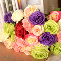 Wholesale Silk Wedding Rose Bouquet for Bride Artificial Rose Real Touch Hand Holding Flowers Wedding Favors Rose flower Bouquet Hot Sale love005
