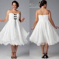 chiffon tea length bridesmaid dresses - Cheap Chiffon Bridal Dresses White Plus Size Dresses with Black Bow Strapless Ruffled Tea Length Cocktail Dresses Party Dress J825