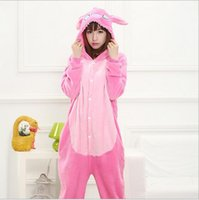 Wholesale Warm Pink Stitch Adult Kigurumi Pajamas Full Sleeve Winter Animal Cosplay Unisex Onesie Sleepwear Onesies Pyjamas