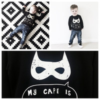 Wholesale ins Baby boy fashion batman shirt kids boy girl long sleeve shirt children spring autumn cute O neck black white shirt
