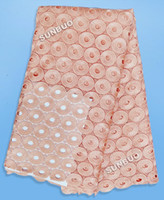 Wholesale Plain peach big soft Cotton cord lace fabric Guipure lace fabric African lace labric chemical french lace