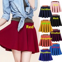 Above Knee asymmetrical mini skirt - Hot Sales Newest Fashion Women Ladies Mini Skirt Dress Polyester Elastic Waist Pleated Flared Skater Colorful Qx34