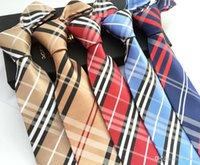 Wholesale silk slim wedding neckties for men skinny polyester plaid mens ties neckties brand Fashion casual tie