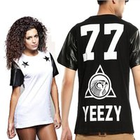 Cheap New Summer Men Women brand tshirts cotton Fashion Lovers t shirt Black White UP Sleeve shirts YEEZY Letter Print clothing