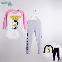 Wholesale Hot Sale Children Tracksuits Donald Duck T shirt and Sweat Pants Children Cartoon Suits Cotton LP32
