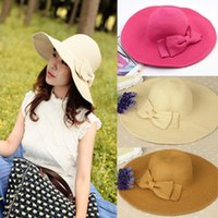Wholesale New Lady quot s Folding Wide Brim Sun proof Butterfly hat Summer vacation Beach Straw Cap best deal