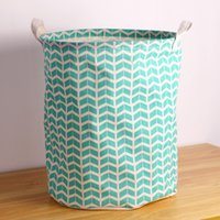 Wholesale hot sale green wave fabric laundry basket with two handles easy folded and cleaning