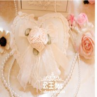 Wholesale 2015 Cheapest Heart Design Wedding Ring Pillow Wedding Favor Flower Decorations Silk Ribbon Special Unique Ring Pillow