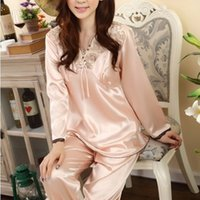 ladies pajamas - 2014 New Arrival Spring Autumn Long Sleeve Lace Ruffles Satin Pajama Sets Ladies Silk Sleepwear Women s Pajamas Large Size GB132