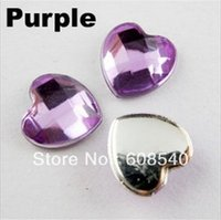 Wholesale 100Pcs Faceted Heart Acrylic Rhinestone Flatback mm Colors Or Mixed Q201