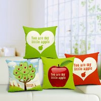 accent throw pillows - Cotton Linen Durable Home You Are My Little Apple Square Decorative Throw Pillow Cover Accent Cushion Cover Pillow Shell Bed Pillow Case