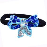Wholesale Beautiful orange bow crystal hair decoration elegant diamond bow tie metal ponytail holders elastic hair bands