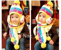 Wholesale colors cold prevention lovely rabbit style baby Knitting hat and scarf baby Bomber Hats kids woolen cap