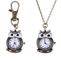 Wholesale Classical owl watches one set necklace key chain Fashion Men and women watch necklace pendant watches Pocket Watch Key Chain Watches