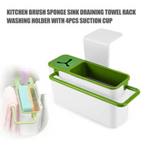 Wholesale New Arrival Kitchen Brush Sponge Sink Draining Towel Rack Washing Holder With Suction Cup