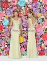 Wholesale Light Yellow Bridesmaid Dress Cheap Chiffon Plunging V Neck Straps Sleeveless Backless Button Floor Length Sequins Ronald Joyce