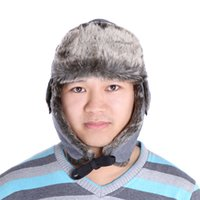 Wholesale Men Women Trapper Trooper Winter Snow Ski Hunting Hat Thick Cap Warm Ear Flap Faux Fur Outdoor Windproof Black Grey H14425
