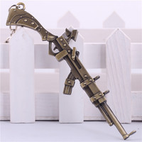 Wholesale Game LOL the Sheriff of Piltover Caitlyn Gun Model Weapon Keychain League of legends Gun Car Key Chain Key Rings men ring chain