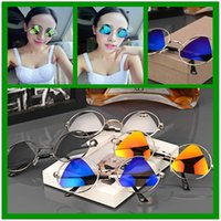 frames for glasses - NEW Vintage sunglasses for women men full round Frame triangle colorful lens UV400 sun protection Creative glasses colors TYJ038