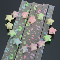 Wholesale 30pcs DIY Footprint Stars Folding Origami Lucky Wishes Luminous Ribbon Kit Paper Crafts Christmas Present Strips Gift