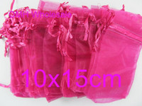 Wholesale OMH x15cm rose red color Jewelry festival wedding Christmas voile organza Packaging gift bags BZ09A