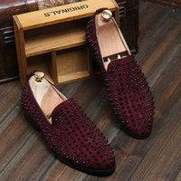free shipping shoes - HOTsale brand new Fashion Mens Punk Studded Rivet Spike Suede Pointy Loafer Casual Dress Shoes EU size