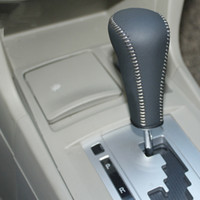 automatic gearshift - Mitsubishi Lancer ex automatic gear cover Hand sewing DIY Auto interior decoration car styling genuine leather Lancer gearshift covers
