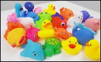 toy duck calls - 2015 kids Rubber water toys toddler baby bath swimming toys yellow ducks Animal BB call sound dolls kids gift J071301 DHL FREESHIP