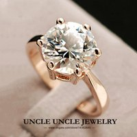 big rose rings - Super Big Engagement Woman Ring K White Rose Gold Plated Top Quality Prongs Ladies Wedding Ring krgp