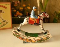 Wholesale new Funny Metal Wind up Rocking Horse Clockwork Tin Toys Collectible Classic Education Toys Gift For Children