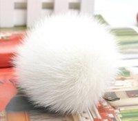 beanie shoes - white Rabbit fur pom poms D7 for Skullies Beanies hats caps shoes clothes real fur balls natural fur pompoms free ship