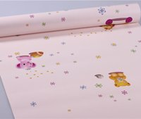 Wholesale 10M D Embossed Little Bear Pattern Self Adhesive Wallpaper Moisture Proof Children s bedroom Backdrop Sticker Vinyl Wall Paper